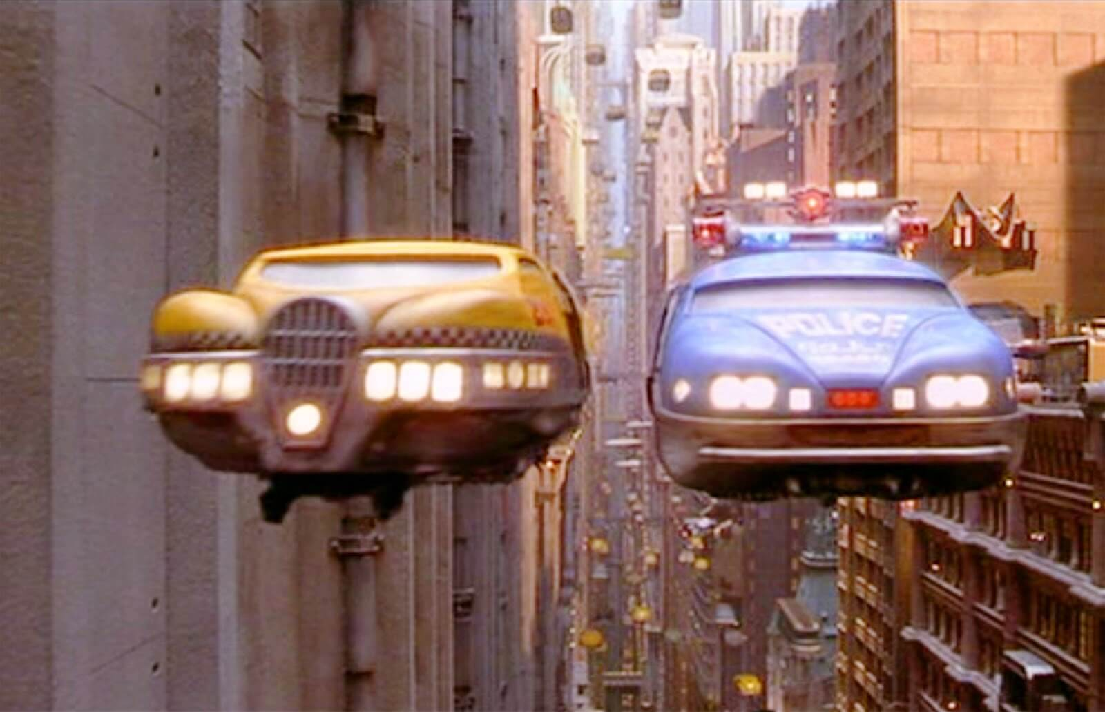 Image du taxi volant dans le film de Luc Besson Le Cinquième Élément
