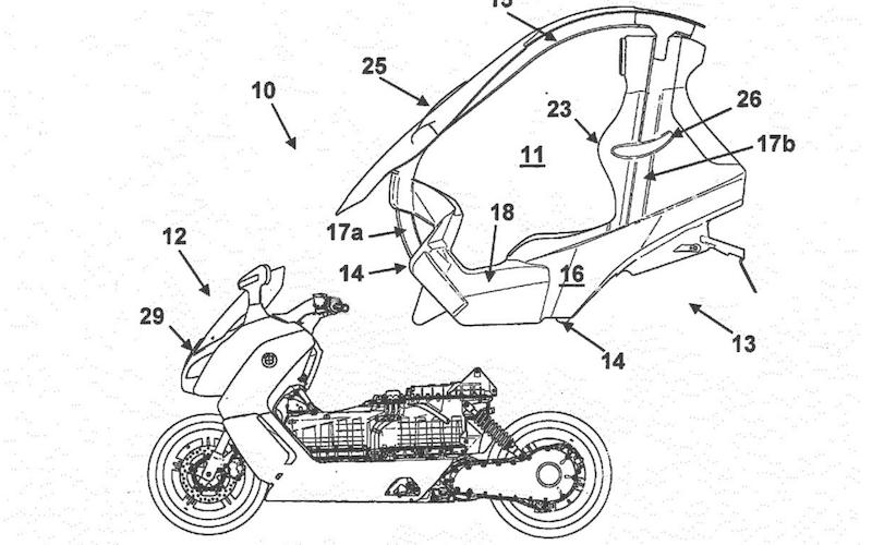 Le dessin d'un scooter électrique BMW C Evolution avec un toit